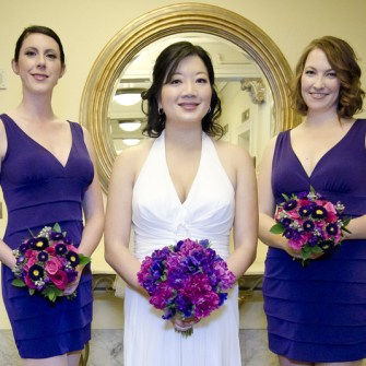 purple and magenta bouquets
