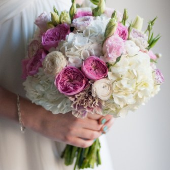 pink & white bridal bouquet with garden roses