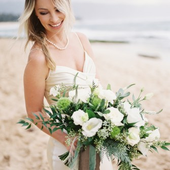 Oblong garden bouquet with white blooms