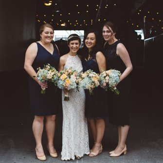 Peach, light blue and white wedding party