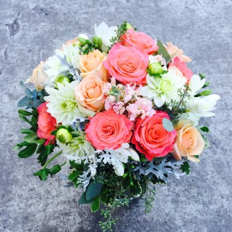 Coral, peach & white bridal bouquet