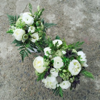 White & green bouquets with fun elements