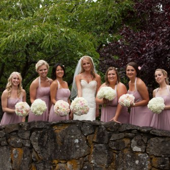 Blush pink and white bridal and bridesmaid bouquets