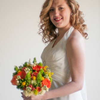 citrus colored bridal bouquet