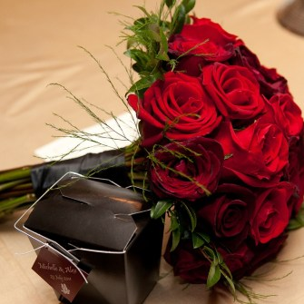 classic red rose and black bacarra rose bouquet