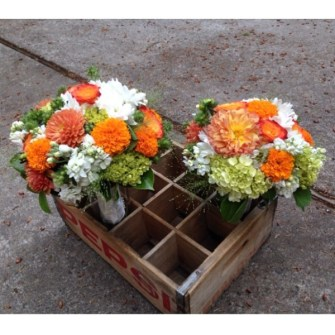 Orange, white & light green bouquets