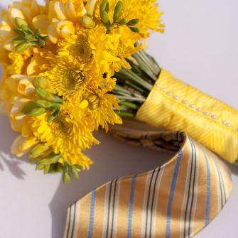 small yellow bridal bouquet with yellow freesia