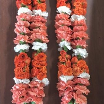 garlands with carnations and mini roses