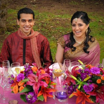 purple, orange and mauve table centerpieces