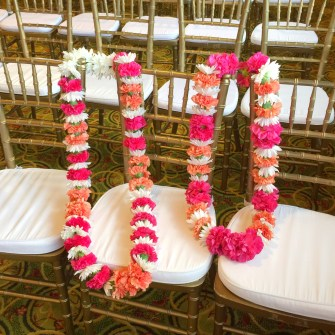 magenta & orange garlands
