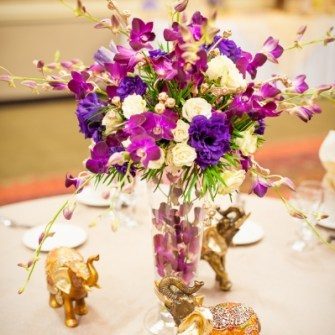 purple & gold orchid centerpieces