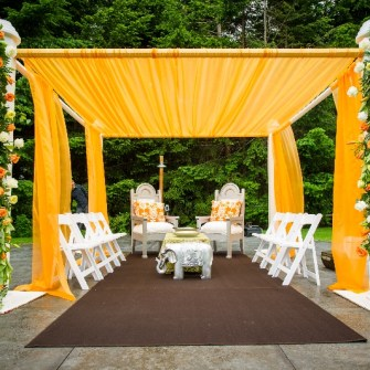 tangerine orange mandap - front view