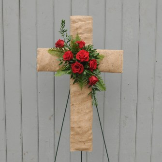 Burlap cross with red roses accent