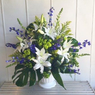 White, blue and green with a touch of tropics