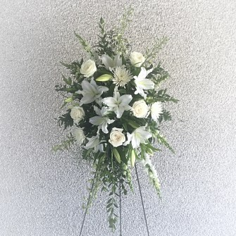 Lilies & roses white medium standing spray
