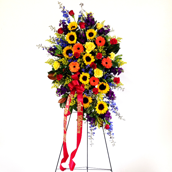 Flower arrangements gallery floral sunshine colorful standing spray with sunflowers mightylinksfo