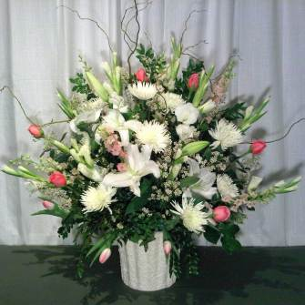 Large Premium Arrangement in Mache - white & pink