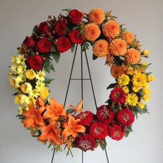 Colorful seasonal memorial wreath