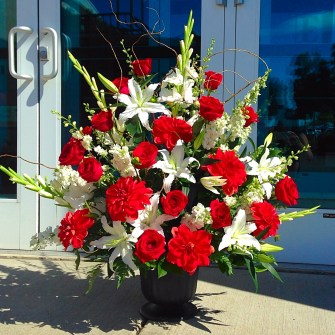 Large red & white urn arrangement