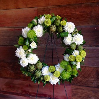 Modern green & white wreath