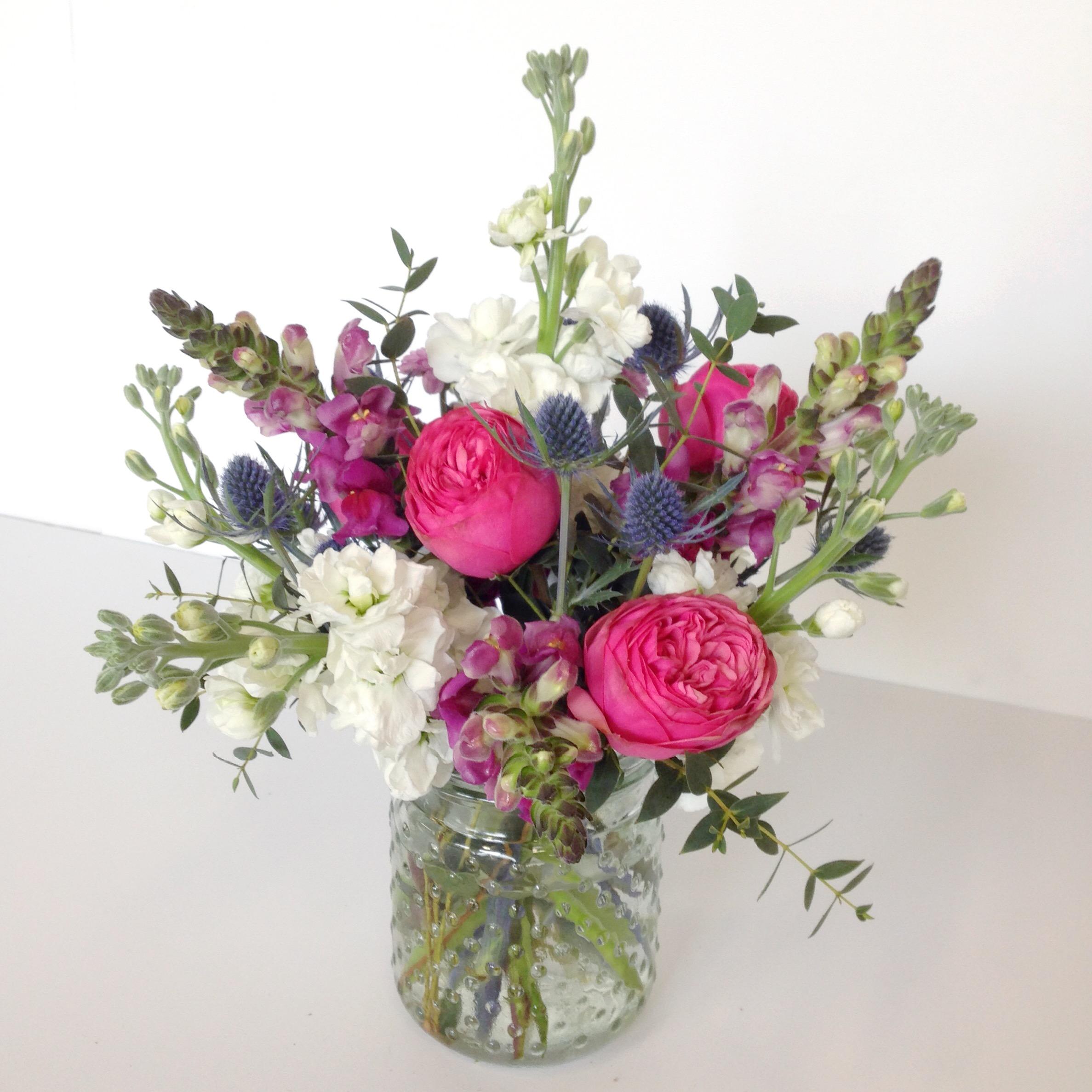 Flower arrangements gallery floral sunshine a little bit wild small arrangement in a hobnail jar mightylinksfo