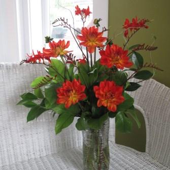 medium seasonal dahlia floral arrangement