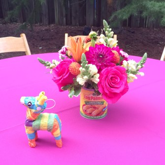 Fiesta Flowers in Mexican Food Cans & Pinatas