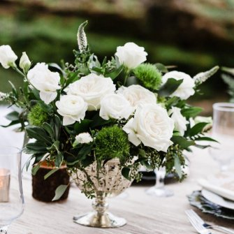Natural white/green centerpiece in gold compote