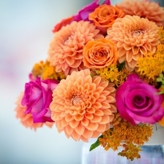 magenta & orange citrus centerpieces