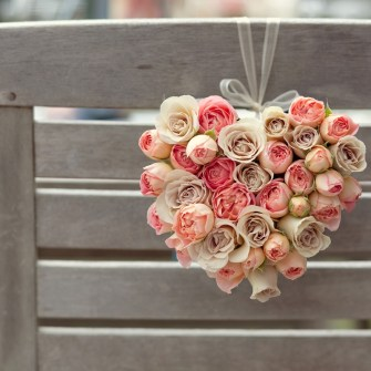 heart-shaped roses hanging from a beach chair