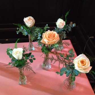 single peach roses bud vases