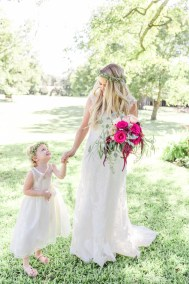 bride and flower girl greenery crowns