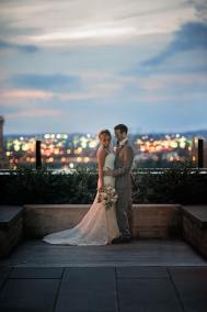 newlyweds at hotel van zandt at sunset
