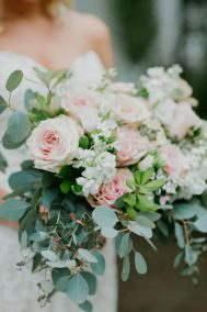 blush and white bridal bouquet - questions to ask your wedding florist