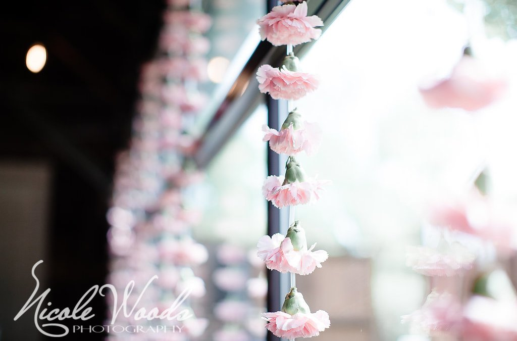 unexpected hanging flowers at a wedding