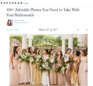 smiling bride and bridesmaids featured on PopSugar