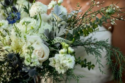 holiday wedding bouquet close up