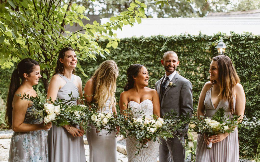 bride, bridesmaids, and bridesman