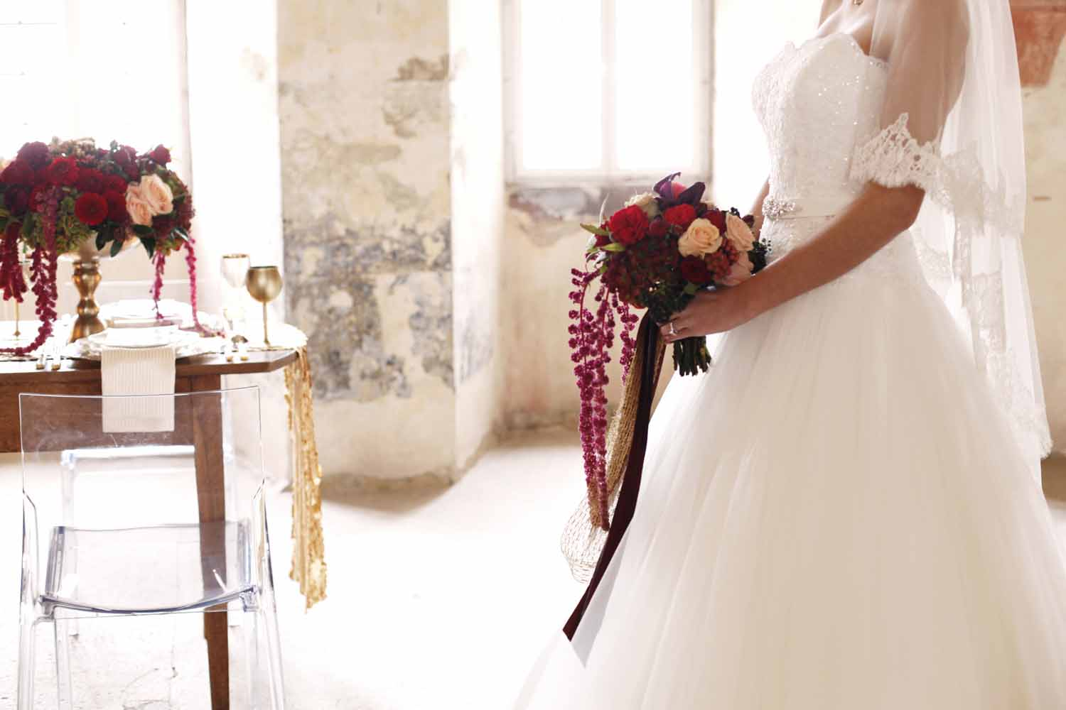 bridal bouquet with trailing ribbons and trailing red amaranthus for Wedding Style Shoot in Kloster Eberbach, Germany, designed by Flora Nova Design, Seattle