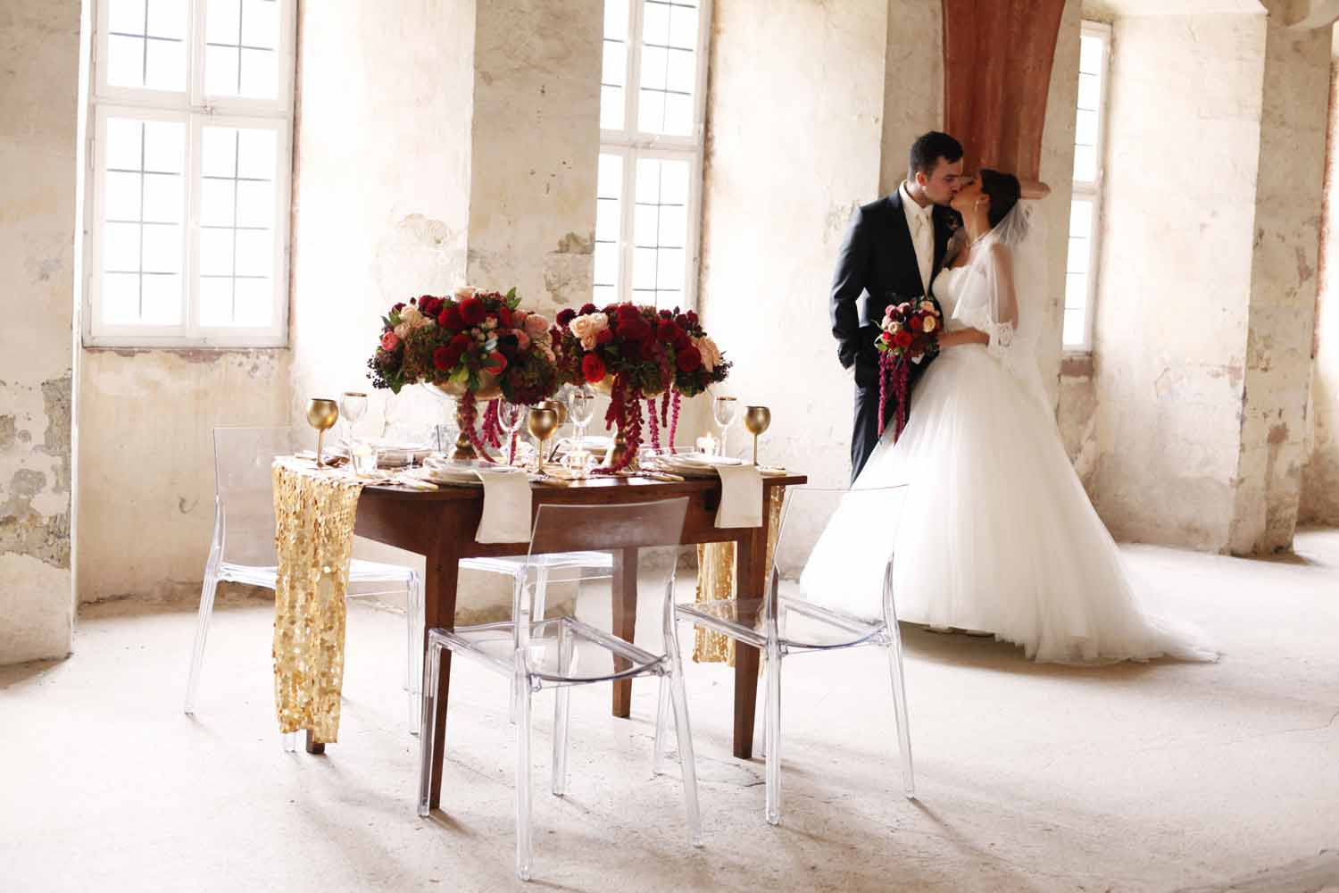 Bride and groom with sweetheart table for Wedding Style Shoot in Kloster Eberbach, Germany, designed by Flora Nova Design, Seattle