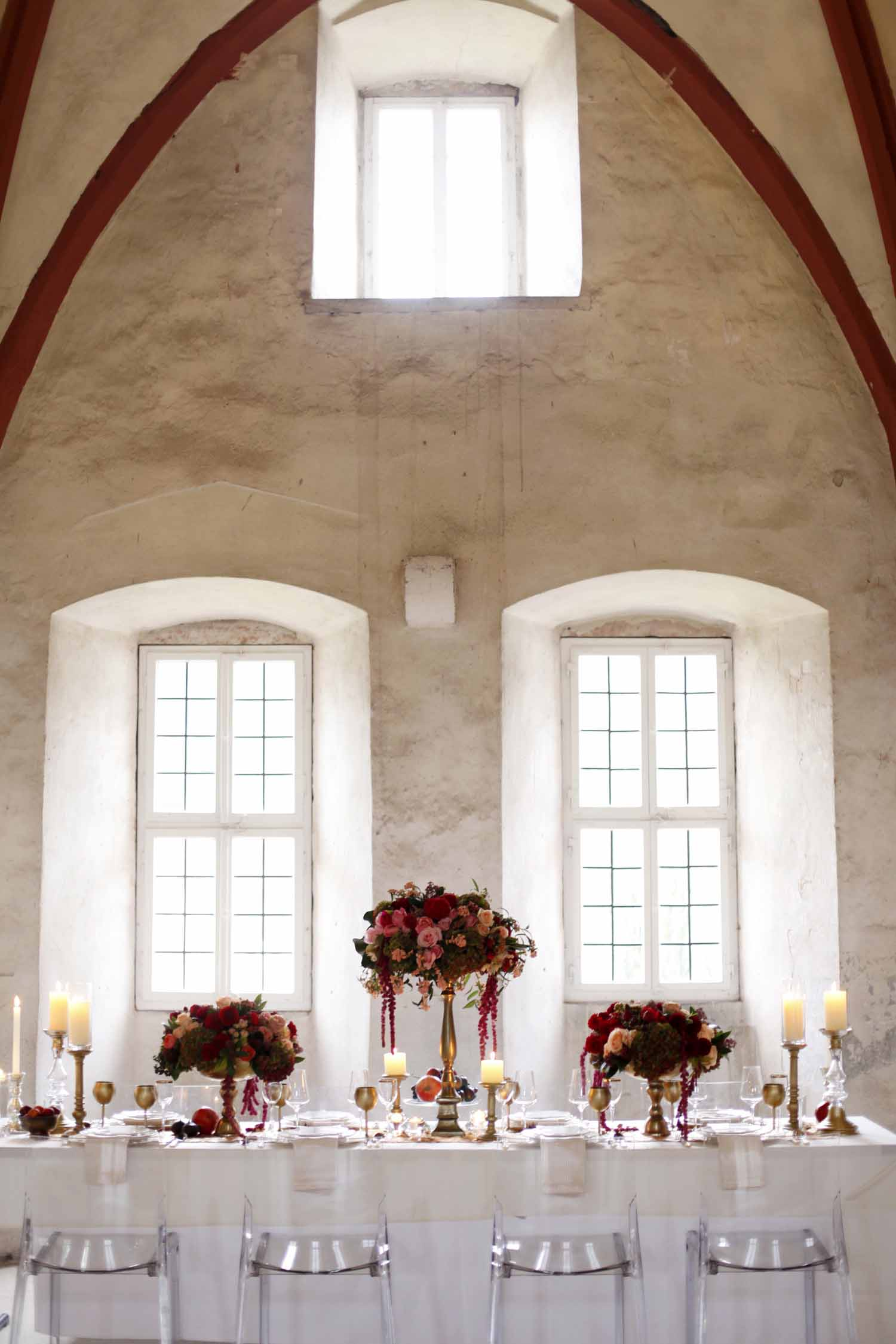 glamorous table scape for Wedding Style Shoot in Kloster Eberbach, Germany, designed by Flora Nova Design, Seattle