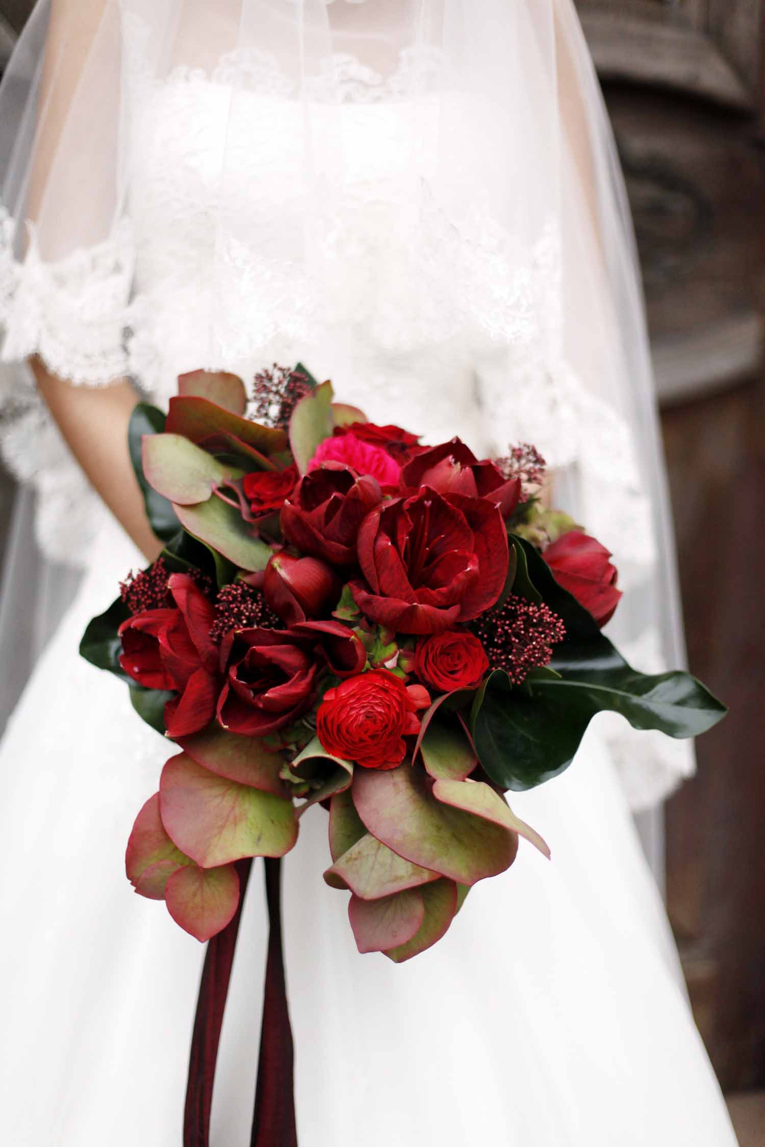 red amaryllis wedding bouquet for Wedding Style Shoot in Kloster Eberbach, Germany, designed by Flora Nova Design, Seattle