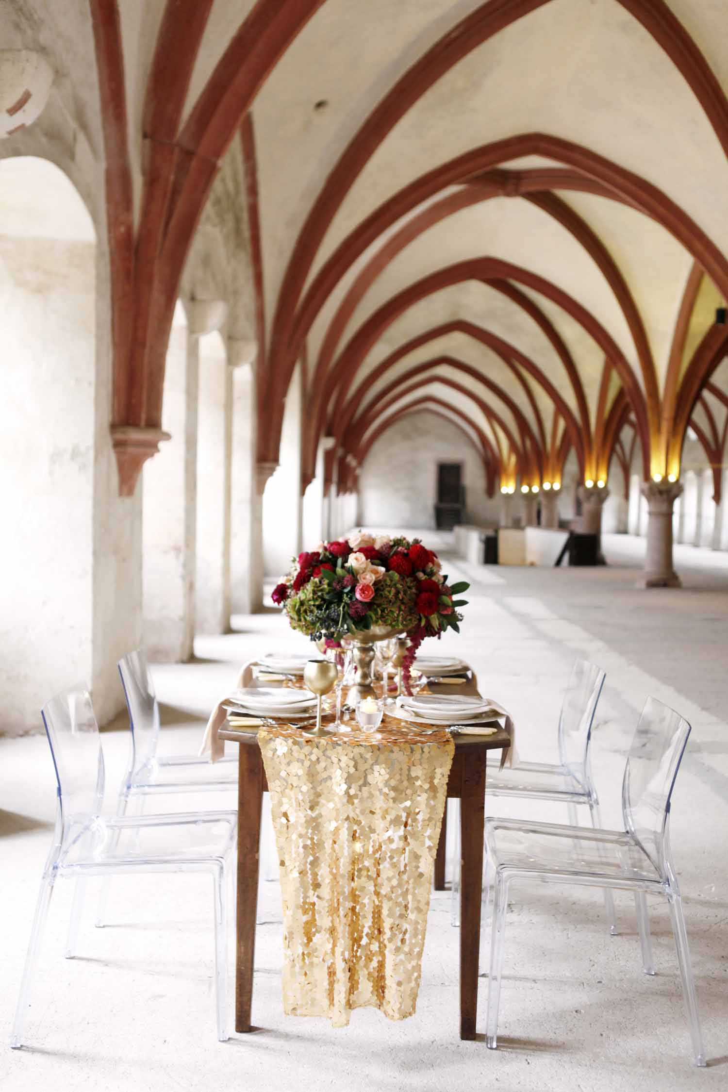 Vintage wooden table inside historic building for Wedding Style Shoot in Kloster Eberbach, Germany, designed by Flora Nova Design, Seattle