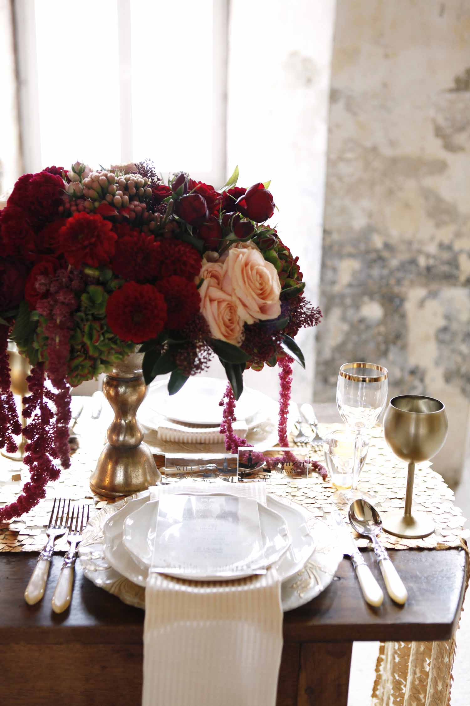 Burgundy and blush centerpiece in gold goblet for Wedding Style Shoot in Kloster Eberbach, Germany, designed by Flora Nova Design, Seattle