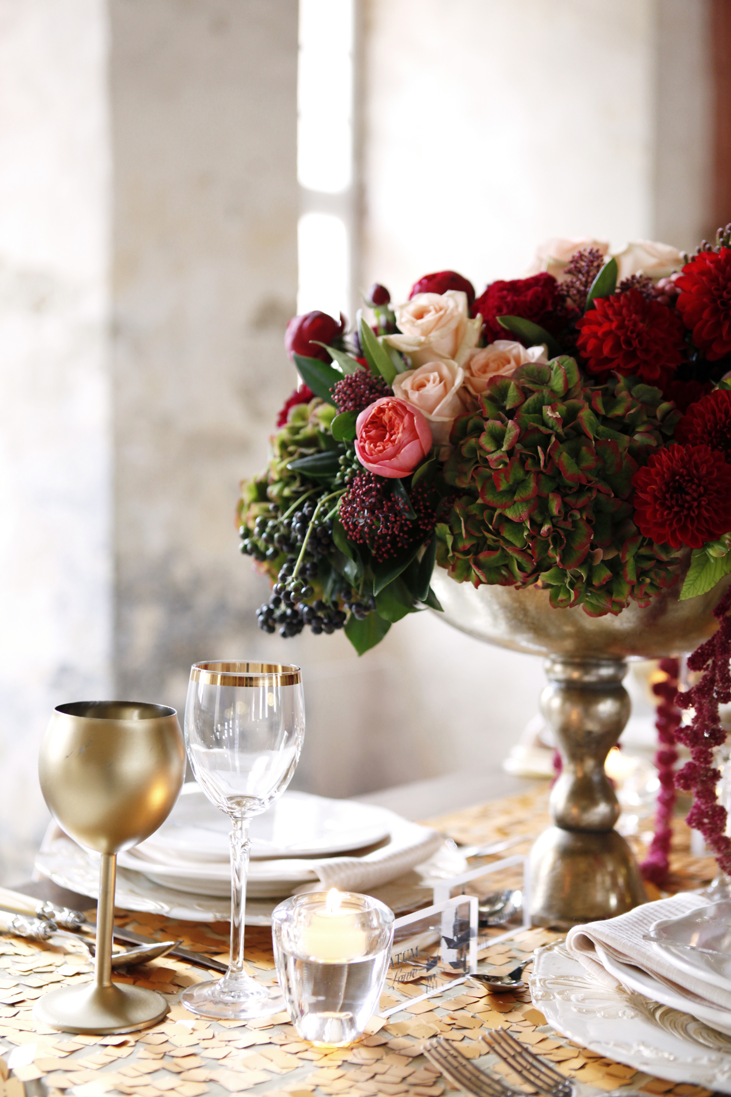 burgundy, blush, and gold flower centerpiece for Wedding Style Shoot in Kloster Eberbach, Germany, designed by Flora Nova Design, Seattle