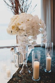 Flora Nova Design Seattle - Luxurious Winter Wedding at the Edgewater Hotel. White and Grey Ceremony Arrangement with Phalaenopsis Orchids