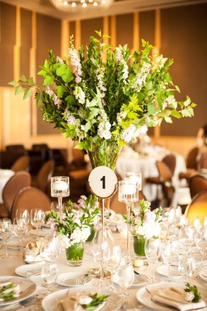Flora Nova Design Seattle Wedding reception table Greens Delphinium