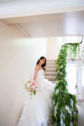 Flora Nova Design Seattle Wedding Bride Staircase Greenery Trailing Banister