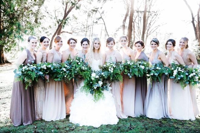 Flora Nova Design Seattle Wedding Bouquet Ferns Eucalyptus white spray roses