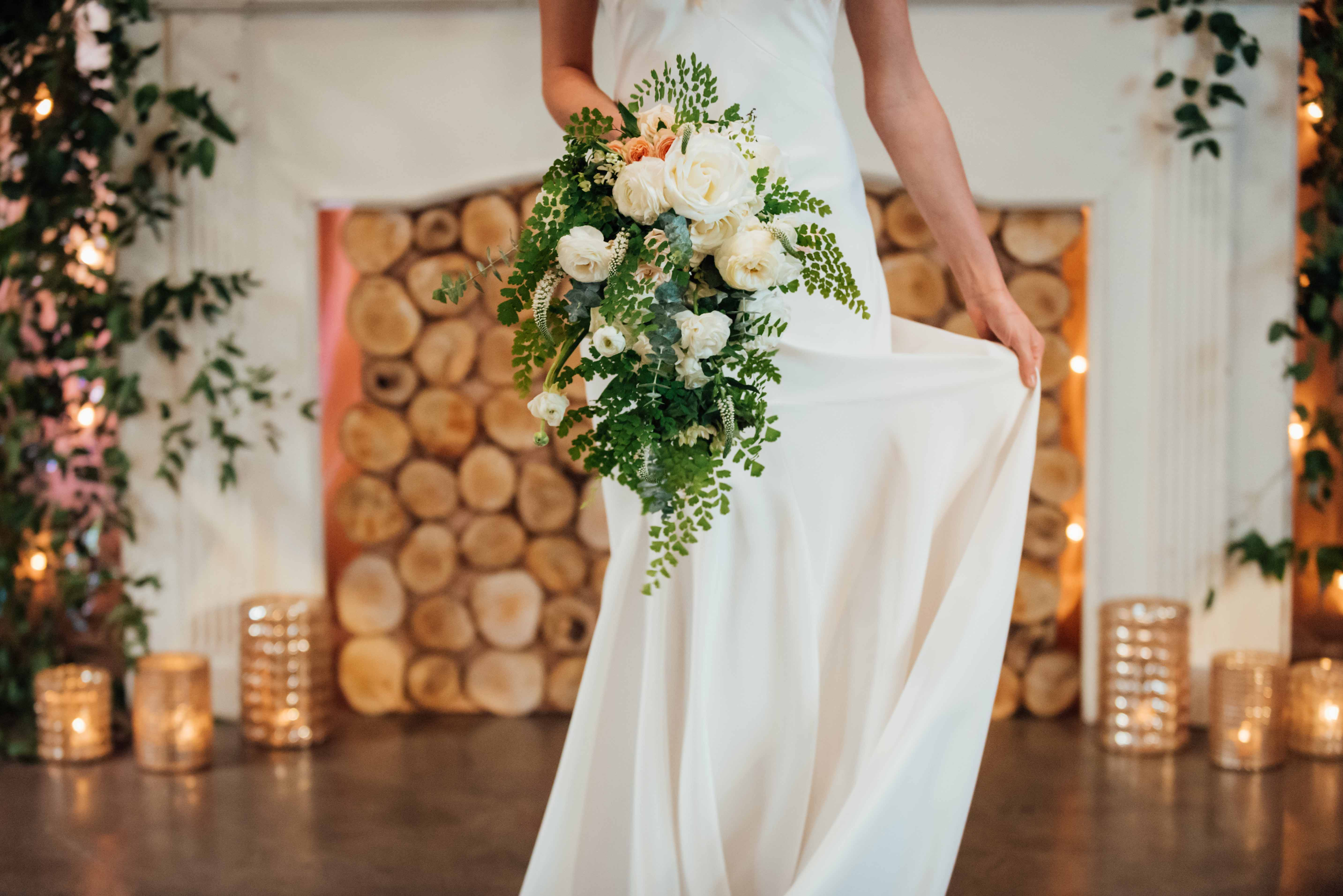 Pacific northwest bouquet of ivory roses with maidenhair ferns